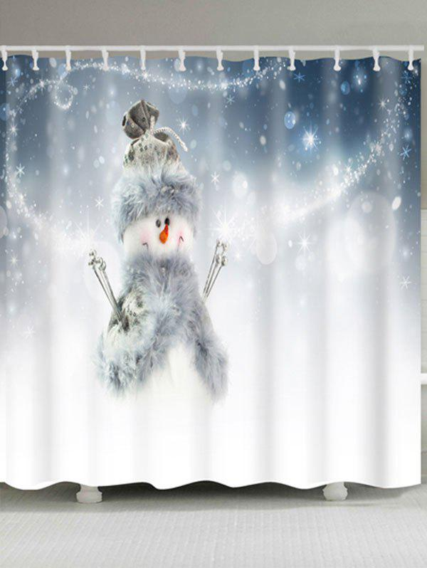 Polyester Waterproof Snowman Print Bath Curtain - WHITE W71 INCH * L79 INCH