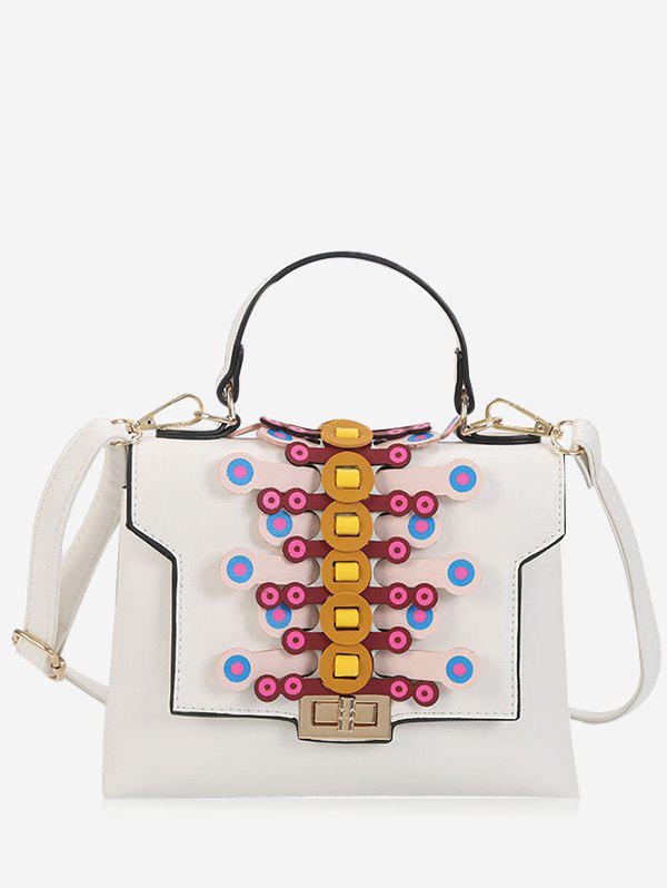 Color Blocking Geometric Handbag - WHITE