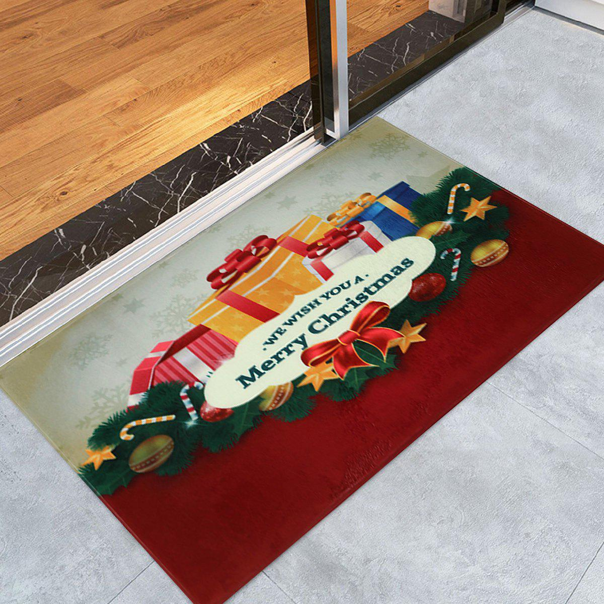 Christmas Gift Print Coral Fleece Nonslip Bath Rug - COLORMIX W24 INCH * L35.5 INCH
