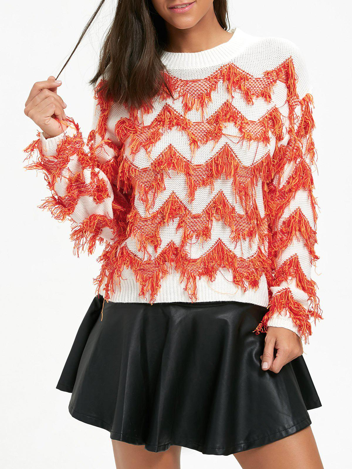 Fringed Drop Shoulder Zigzag Sweater - WHITE ONE SIZE
