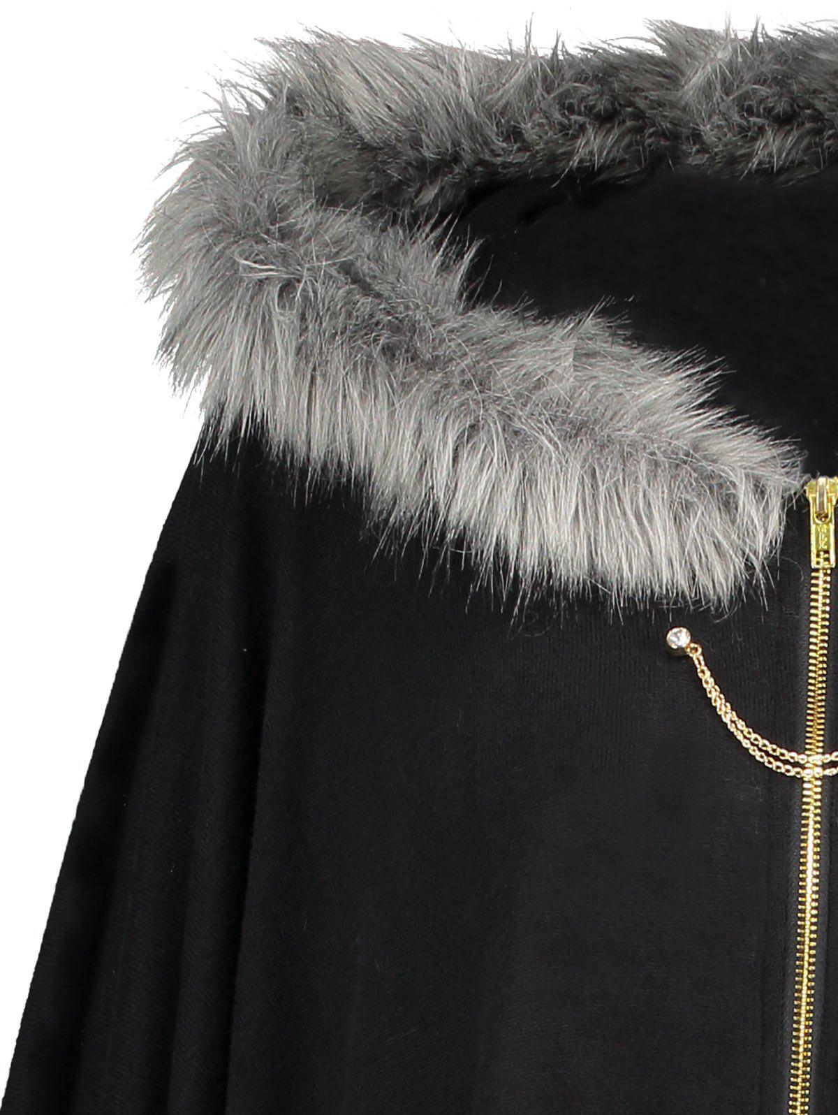 Faux Fur Trim Asymmetric Plus Size Cape Coat - BLACK XL