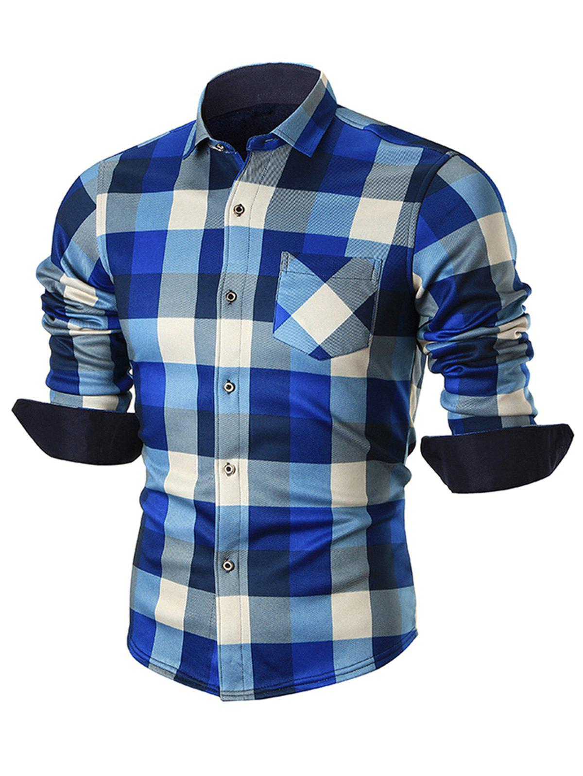 Fleece-lined Chest Pocket Checkered Shirt - BLUE 4XL