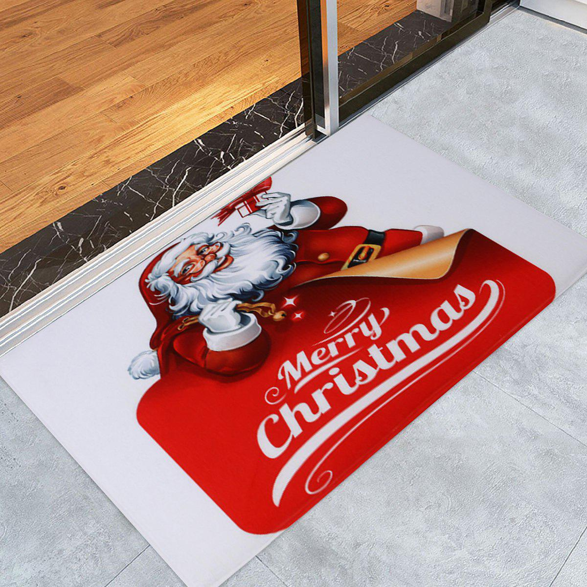 Santa Claus Coral Fleece Christmas Antislip Bath Rug - RED/WHITE W16 INCH * L24 INCH