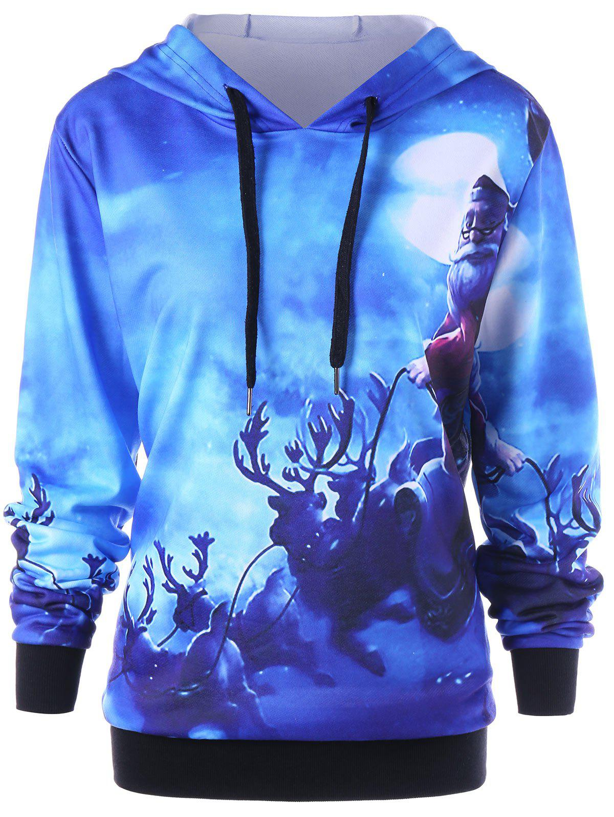 Christmas Plus Size Reindeer Hoodie - BLUE 4XL