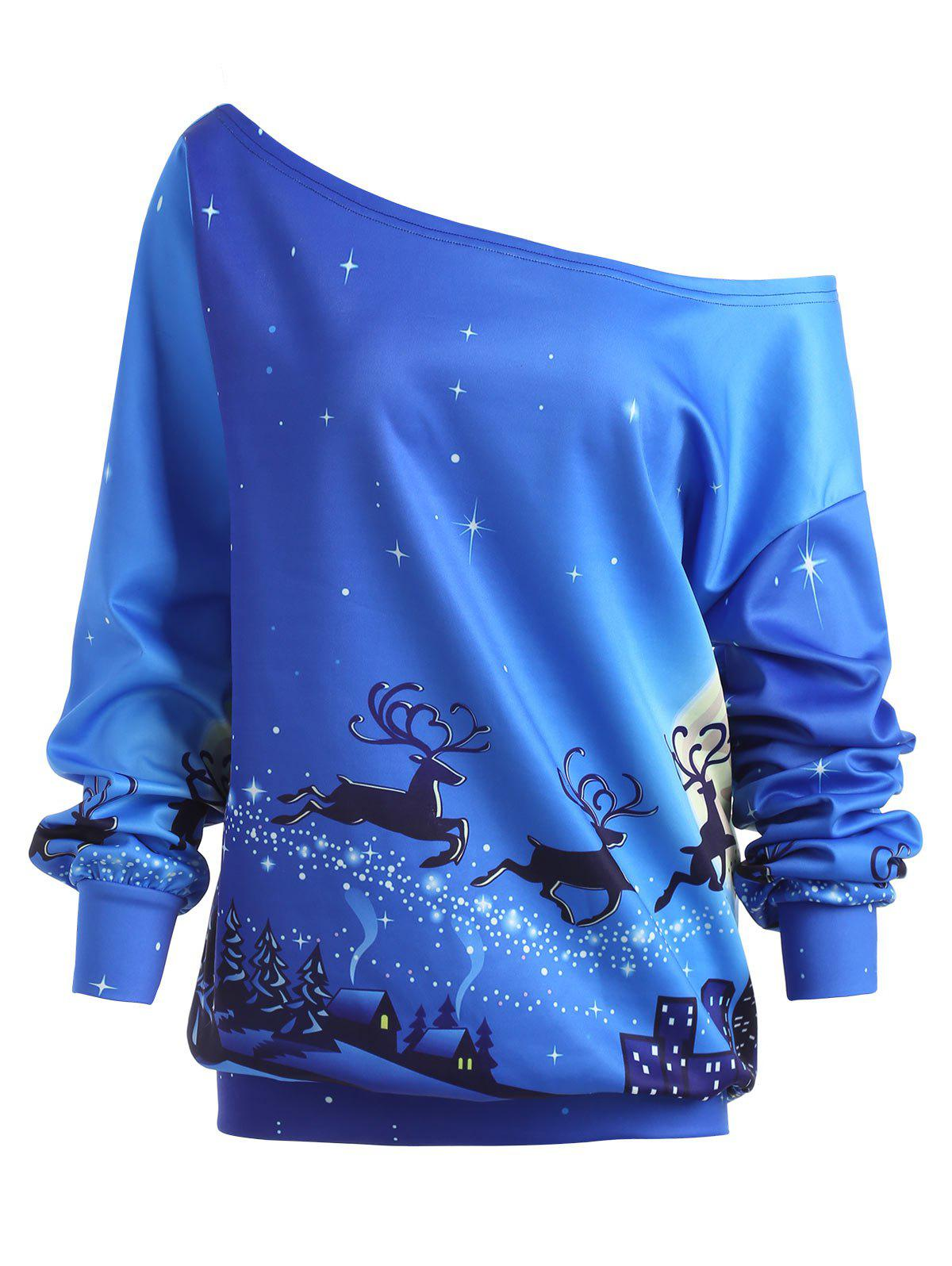 Plus Size Christmas Eve ELK Skew Neck Sweatshirt - BLUE 4XL