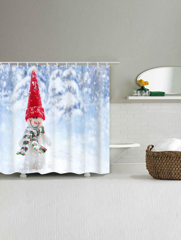 Snowman Print Waterproof Polyester Shower Curtain - COLORMIX W71 INCH * L79 INCH