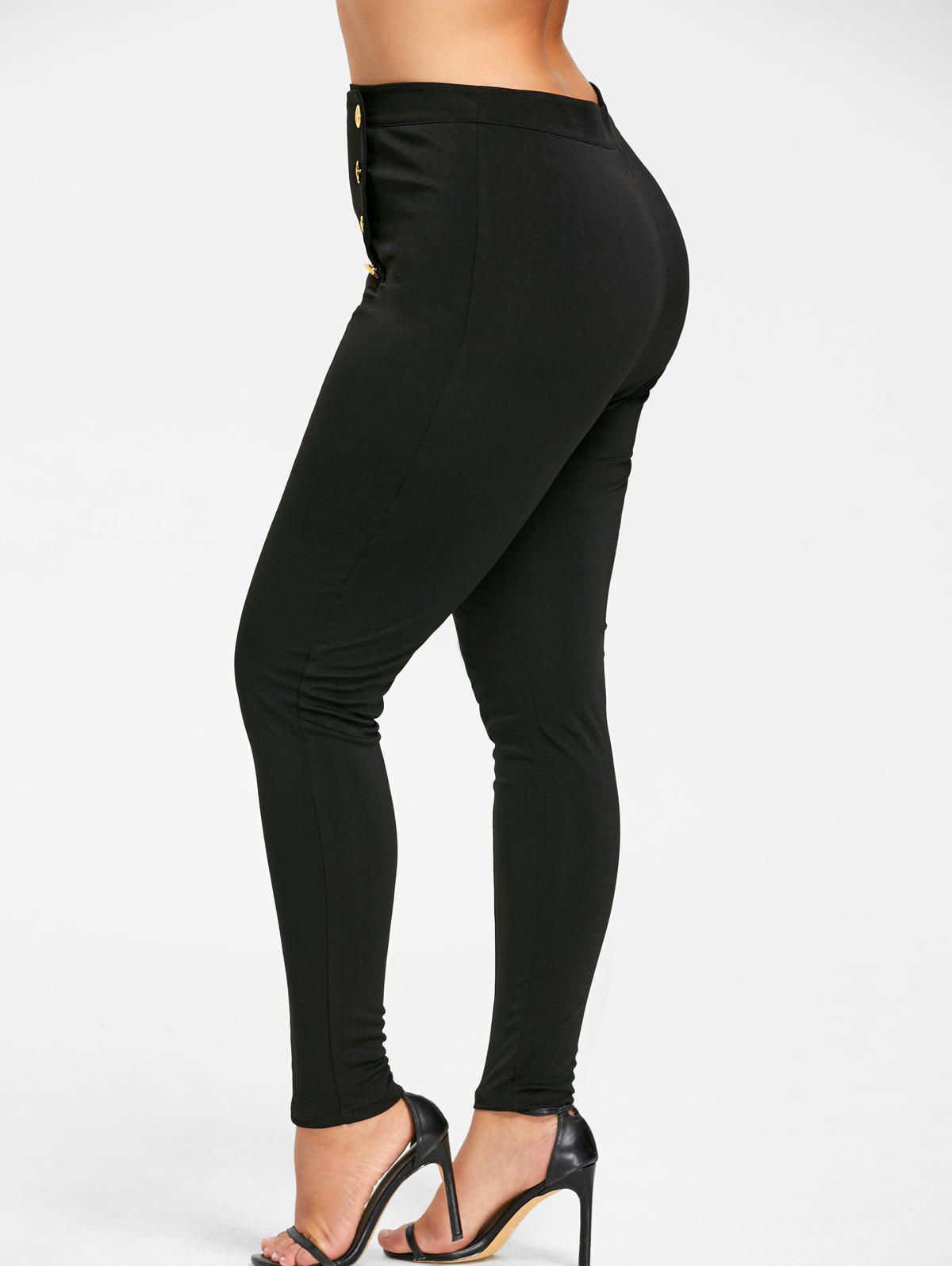 Plus Size Double Breasted Skinny Pants - BLACK 4XL