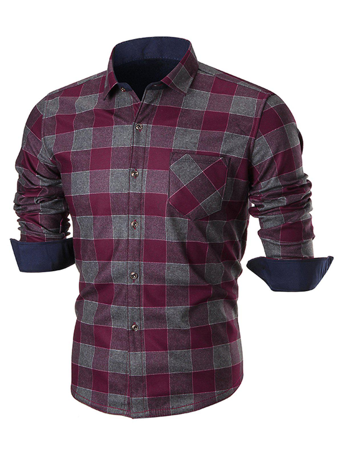 Chest Pocket Slim Fit Plaid Shirt - WINE RED 3XL