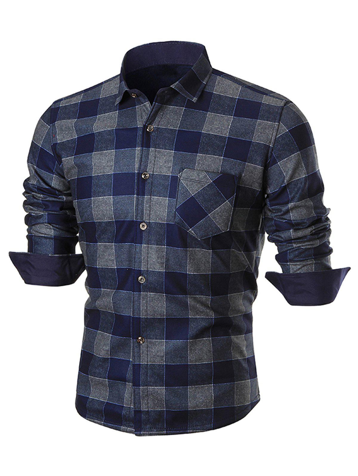 Chest Pocket Slim Fit Plaid Shirt - BLUE XL