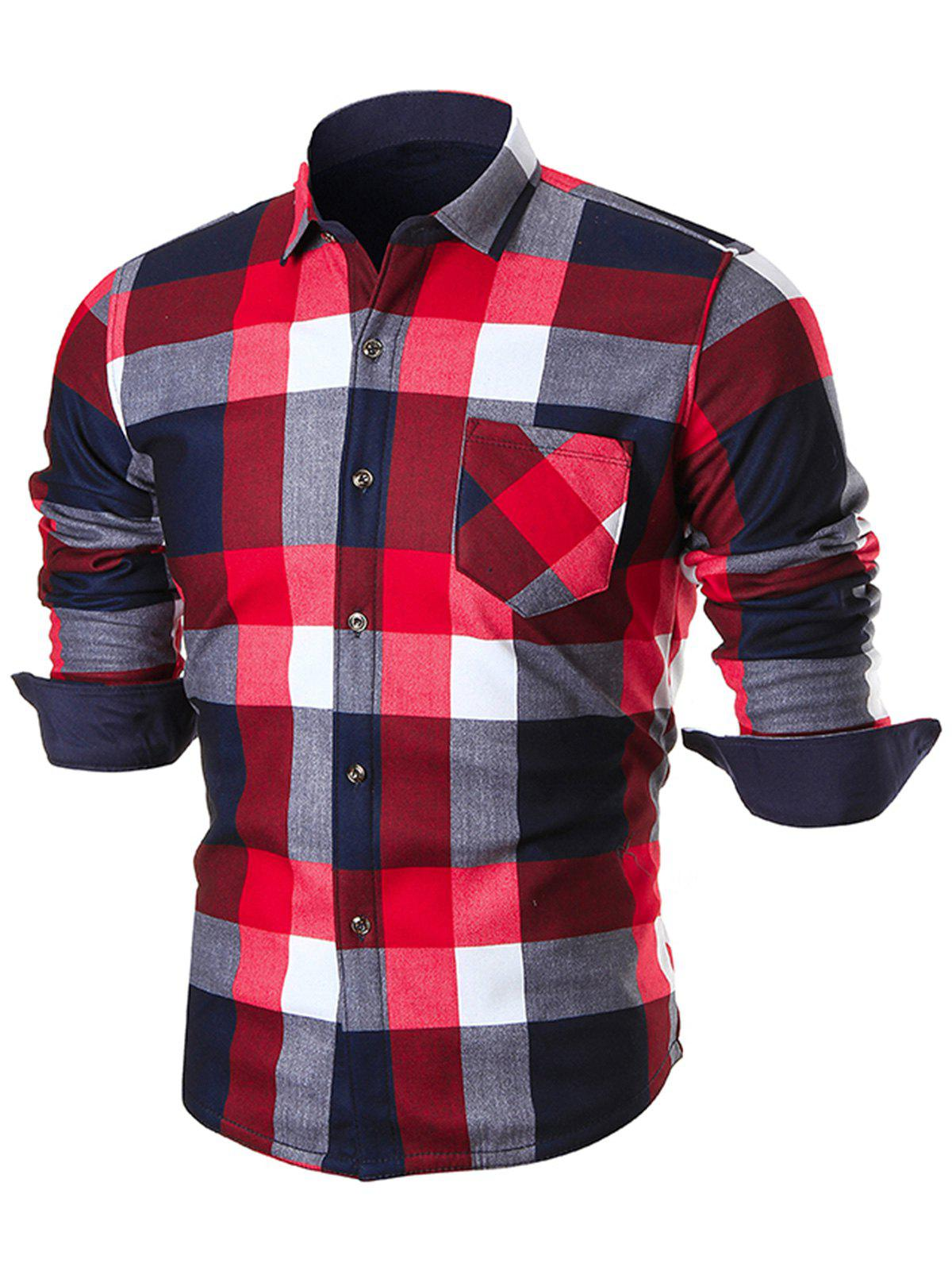 Chest Pocket Slim Fit Plaid Shirt - RED 3XL