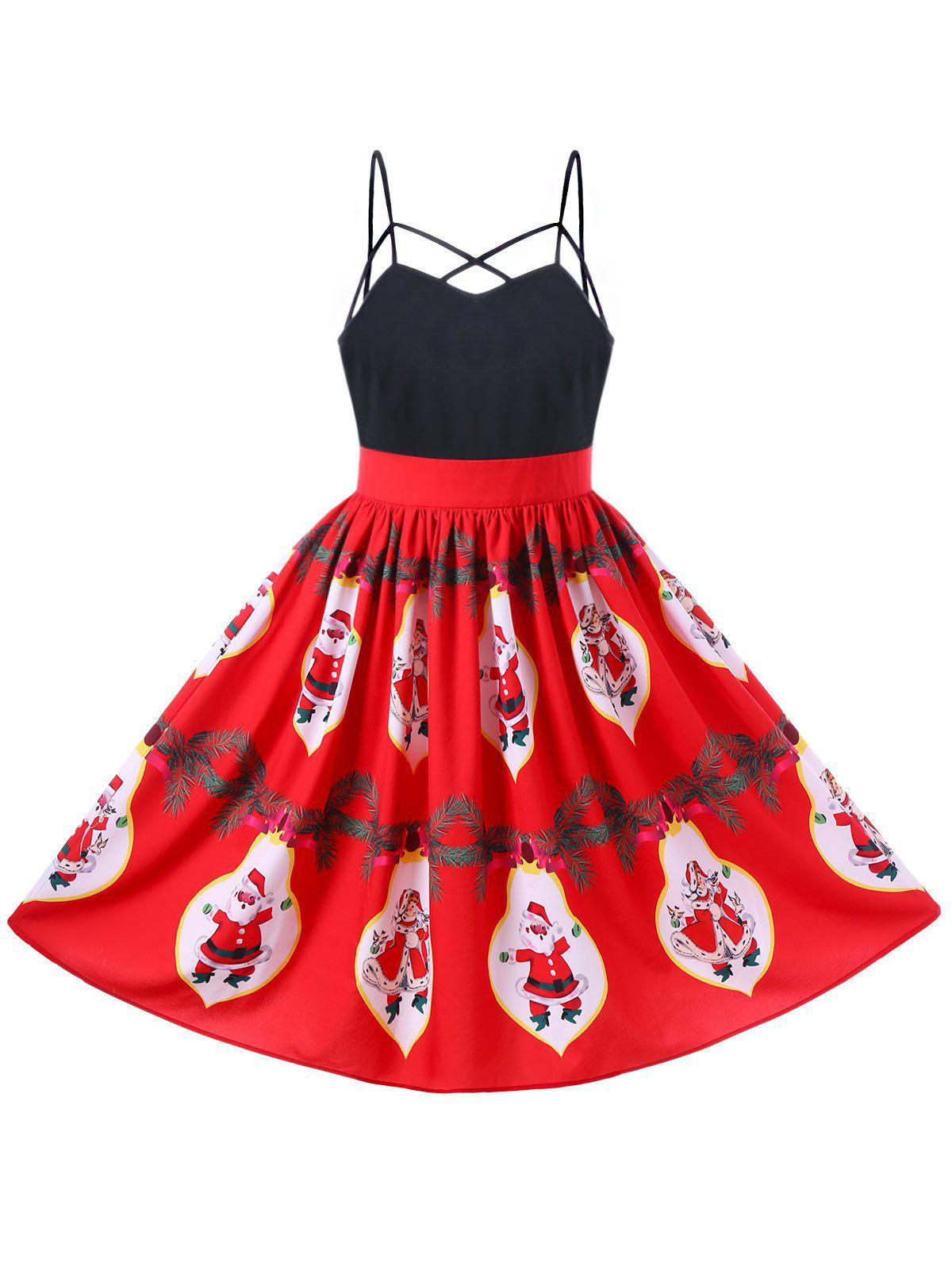 Santa Claus Strappy Swing Dress - RED L