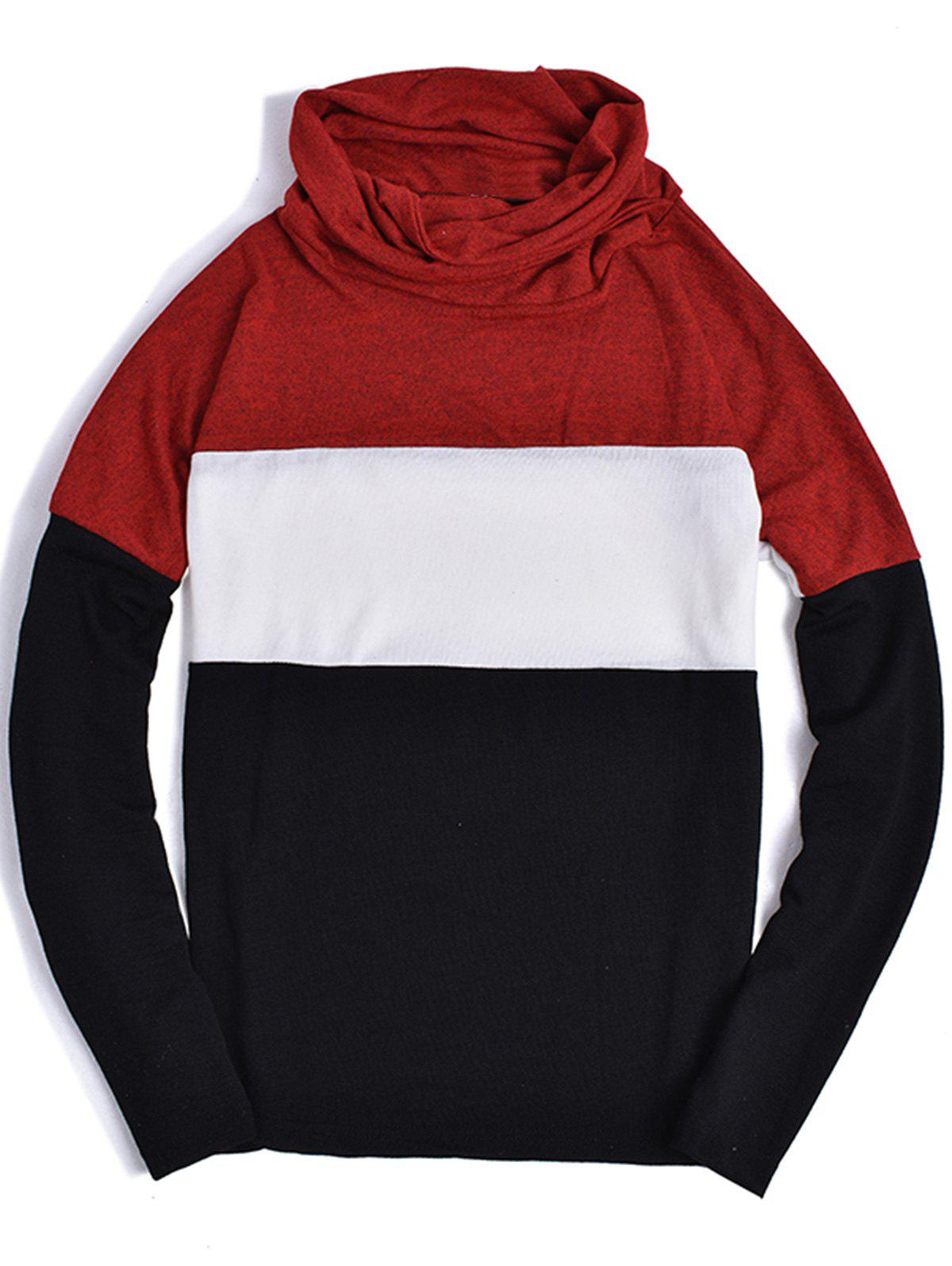 Color Block Panel Piles Collar Sweater - RED 2XL