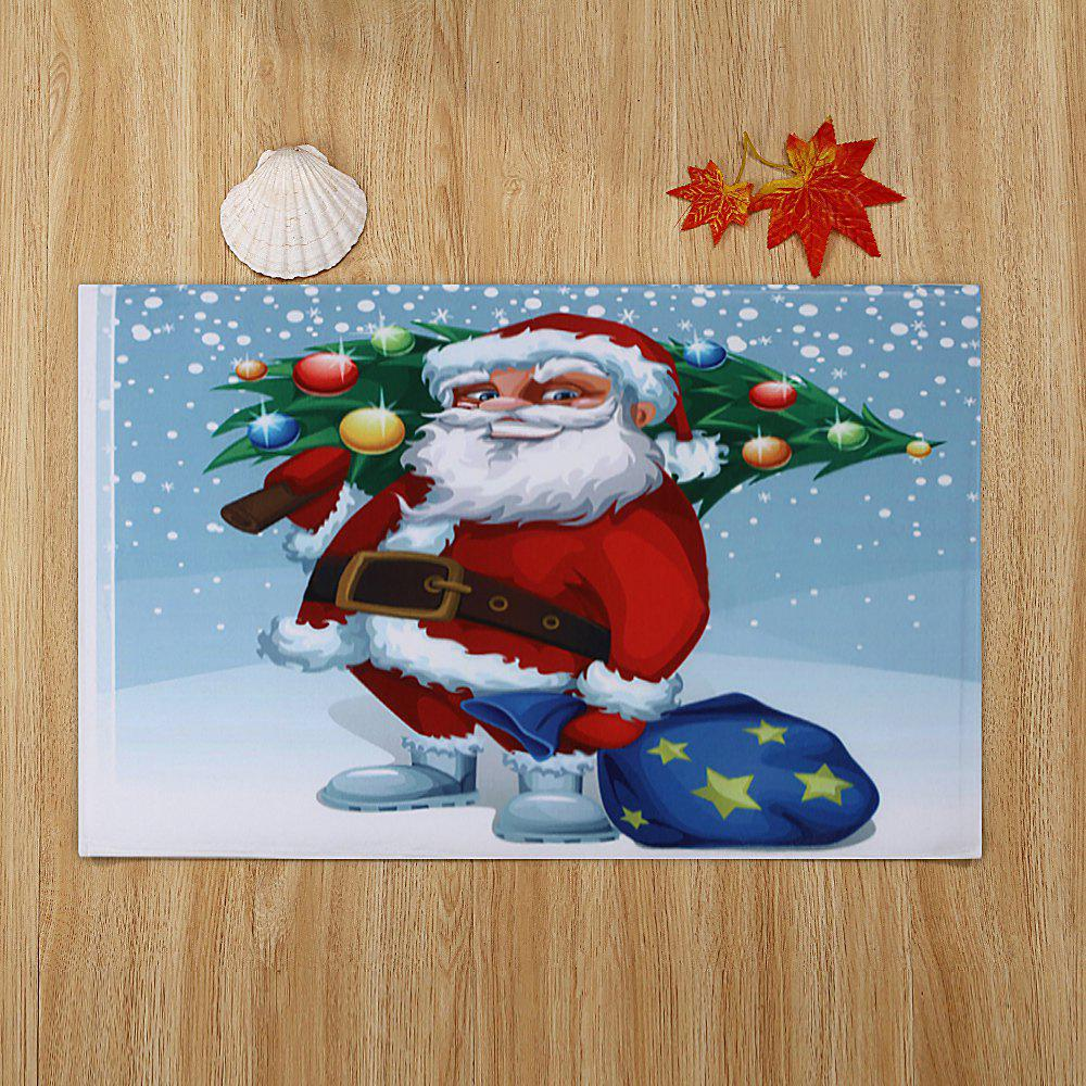 Christmas Santa Tree Pattern Indoor Outdoor Area Rug - COLORMIX W16 INCH * L24 INCH