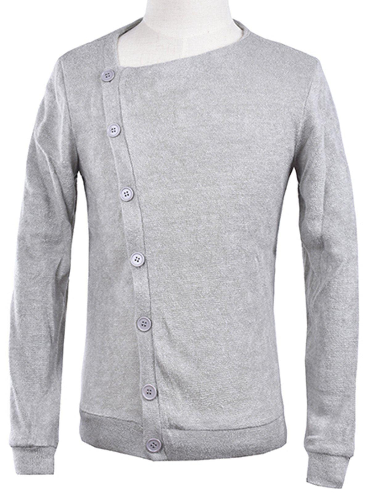 Knitted Oblique Button Up Cardigan - LIGHT GRAY S