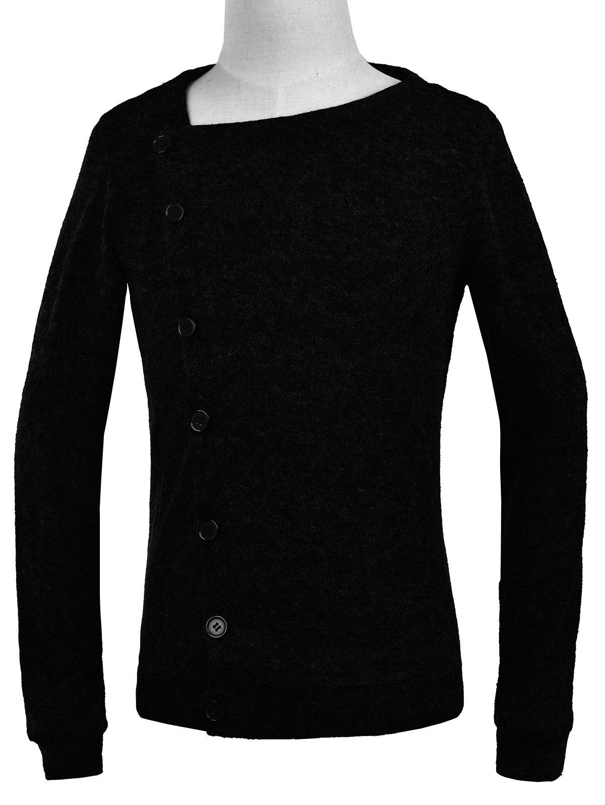 Knitted Oblique Button Up Cardigan - BLACK M