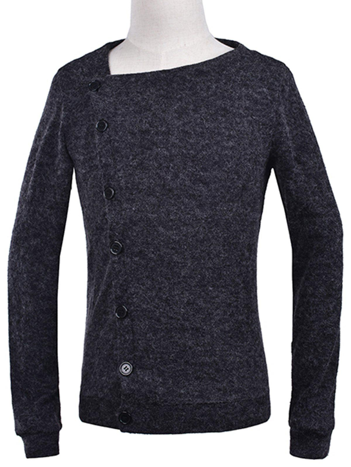 Knitted Oblique Button Up Cardigan - DEEP GRAY 2XL
