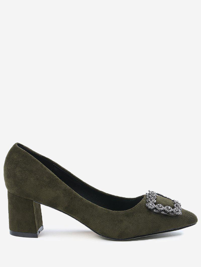 Chunky Heel Pointed Toe Rhinestone Pumps - ARMY GREEN 35