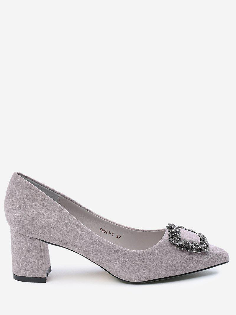 Chunky Heel Pointed Toe Rhinestone Pumps - SUEDE ROSE 35