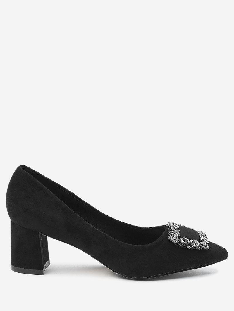 Chunky Heel Pointed Toe Rhinestone Pumps - BLACK 40
