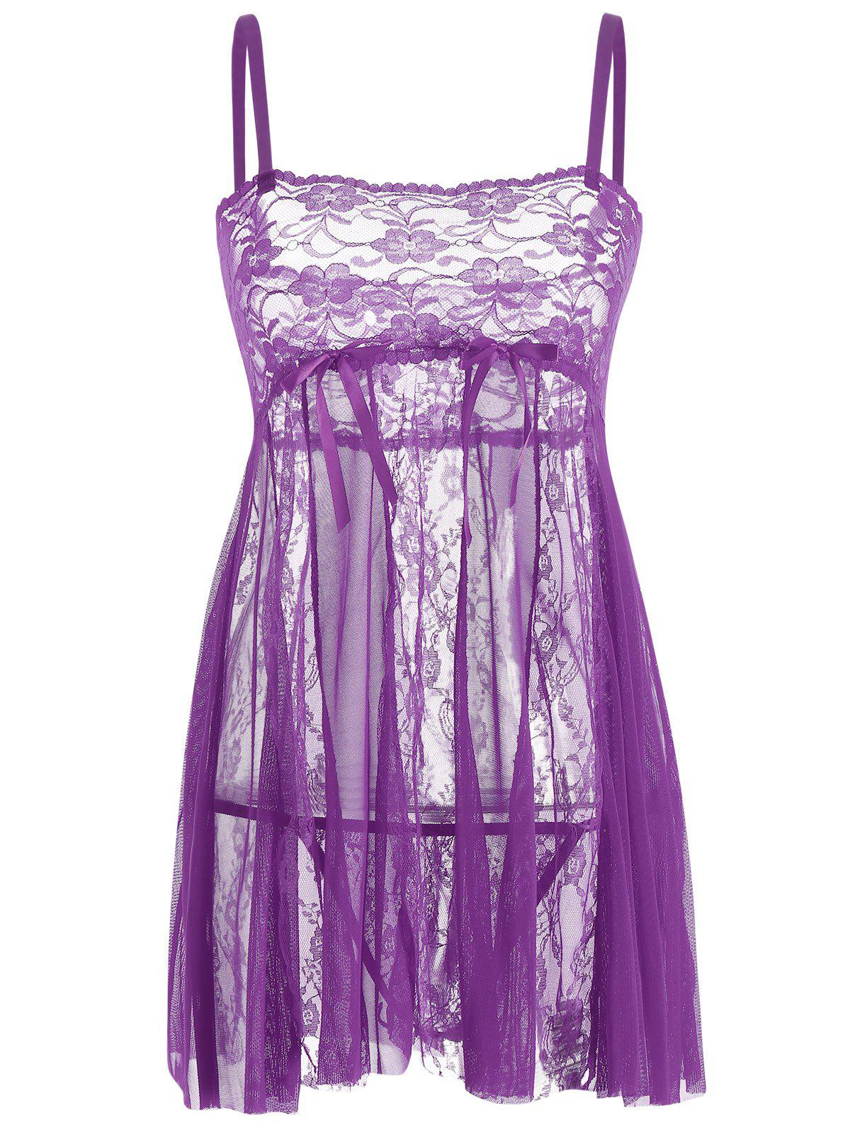 Lace Slip See Through Babydoll - PURPLE L