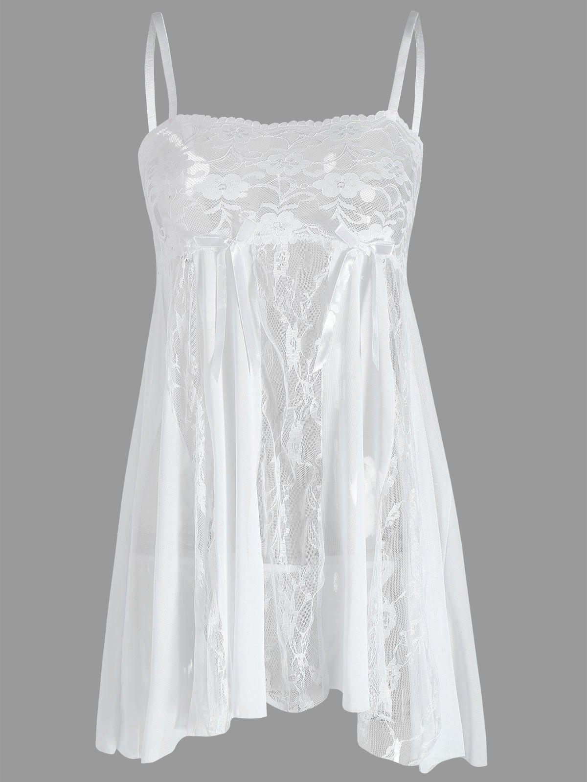 Lace Slip See Through Babydoll - WHITE XL