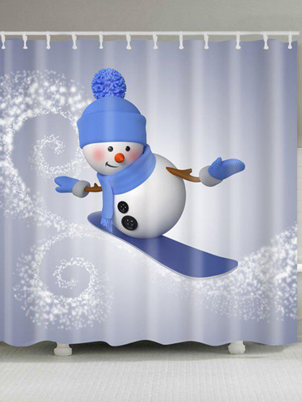 Skateboard Snowman Printed Waterproof Shower Curtain - GRAY W71 INCH * L71 INCH