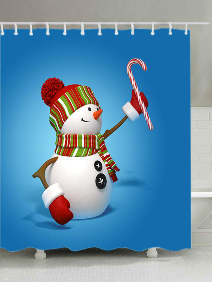 Snowman Candy Cane Print Fabric Waterproof Shower Curtain - BLUE W71 INCH * L79 INCH