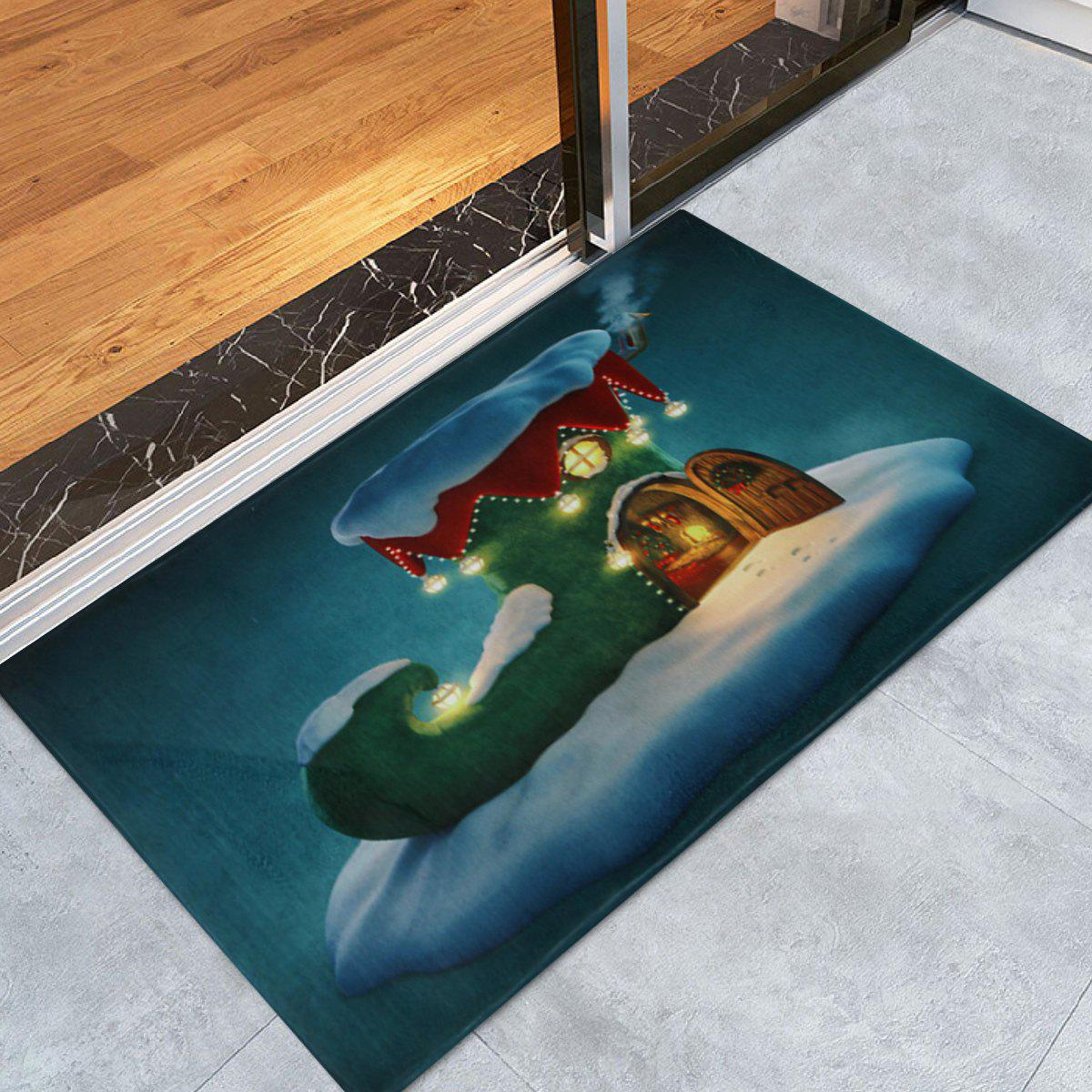 Christmas Boot House Print Nonslip Bath Mat - PEACOCK BLUE W24 INCH * L35.5 INCH