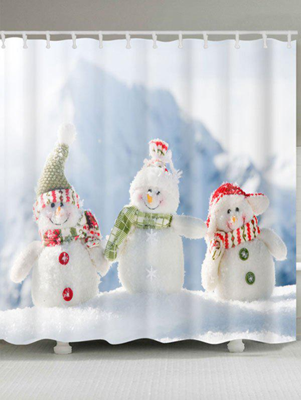 Snowman Family Print Waterproof Polyester Bath Curtain waterproof polyester snowman christmas shower curtain