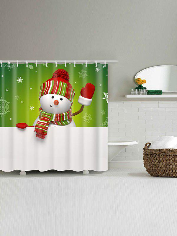 Snowman Printed Polyester Waterproof Bath Curtain - WHITE/GREEN W71 INCH * L79 INCH