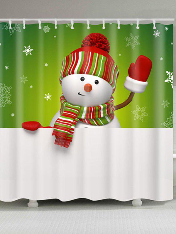 Snowman Printed Polyester Waterproof Bath Curtain - WHITE/GREEN W59 INCH * L71 INCH