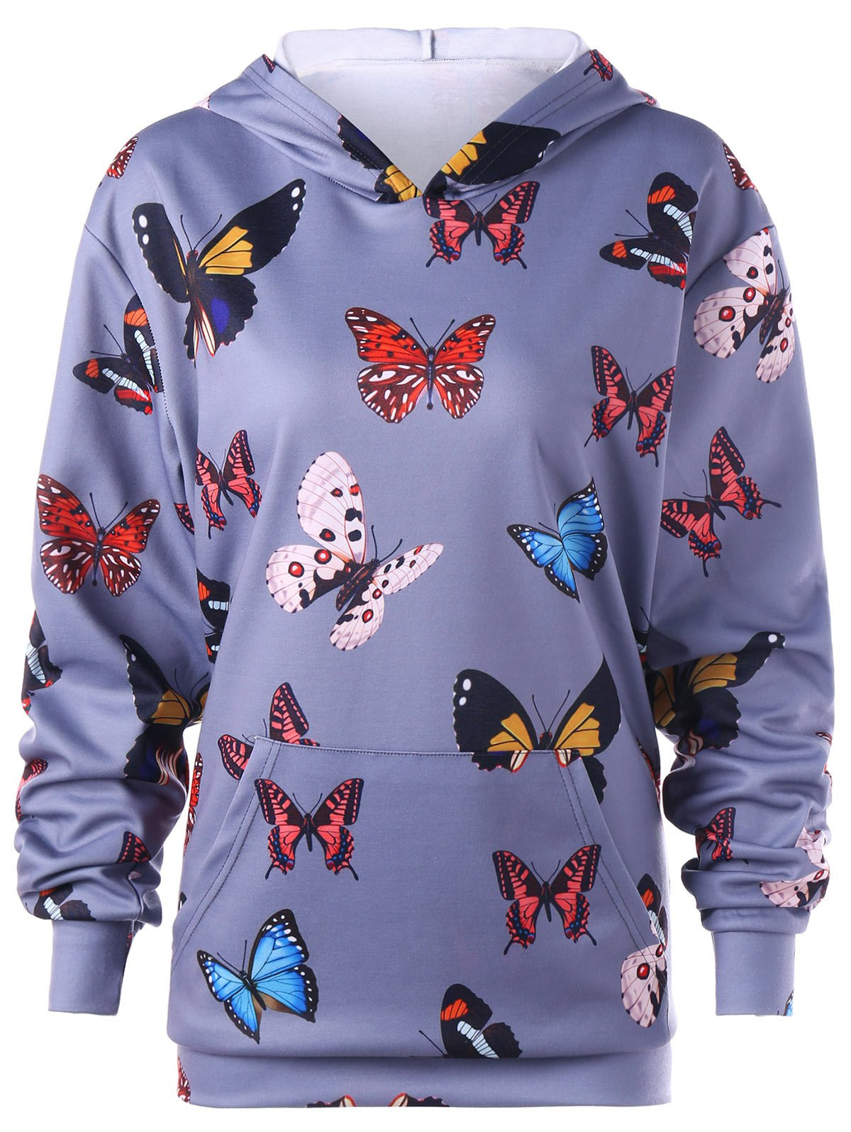 Butterfly Print Kangaroo Pocket Hoodie - BLUE GRAY XL