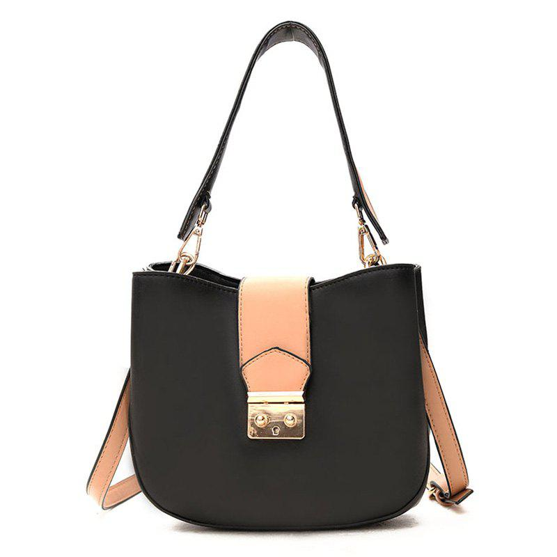 PU Leather Contrasting Color Tote Bag - BLACK