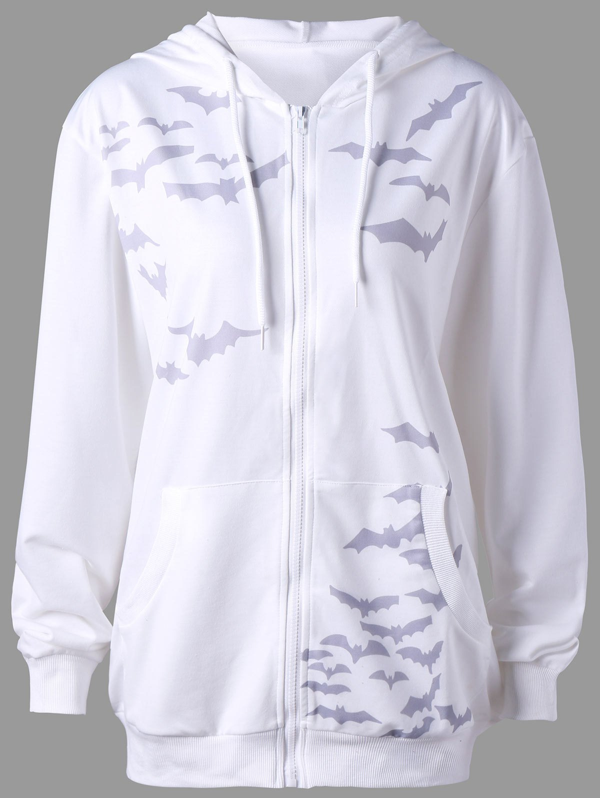 Kangaroo Pocket Bat Print Hoodie - WHITE 2XL