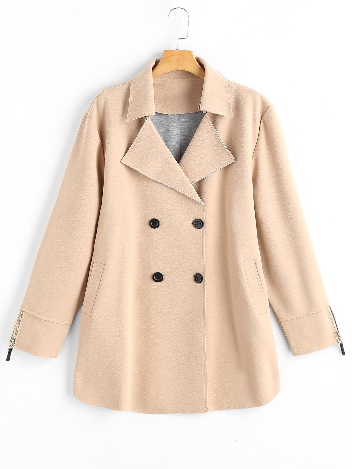 Plus Size Lapel Double Breast Coat - KHAKI 2XL