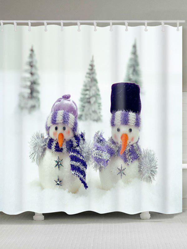 Snowman Couples Printed Christmas Waterproof Bath Curtain - WHITE W71 INCH * L79 INCH
