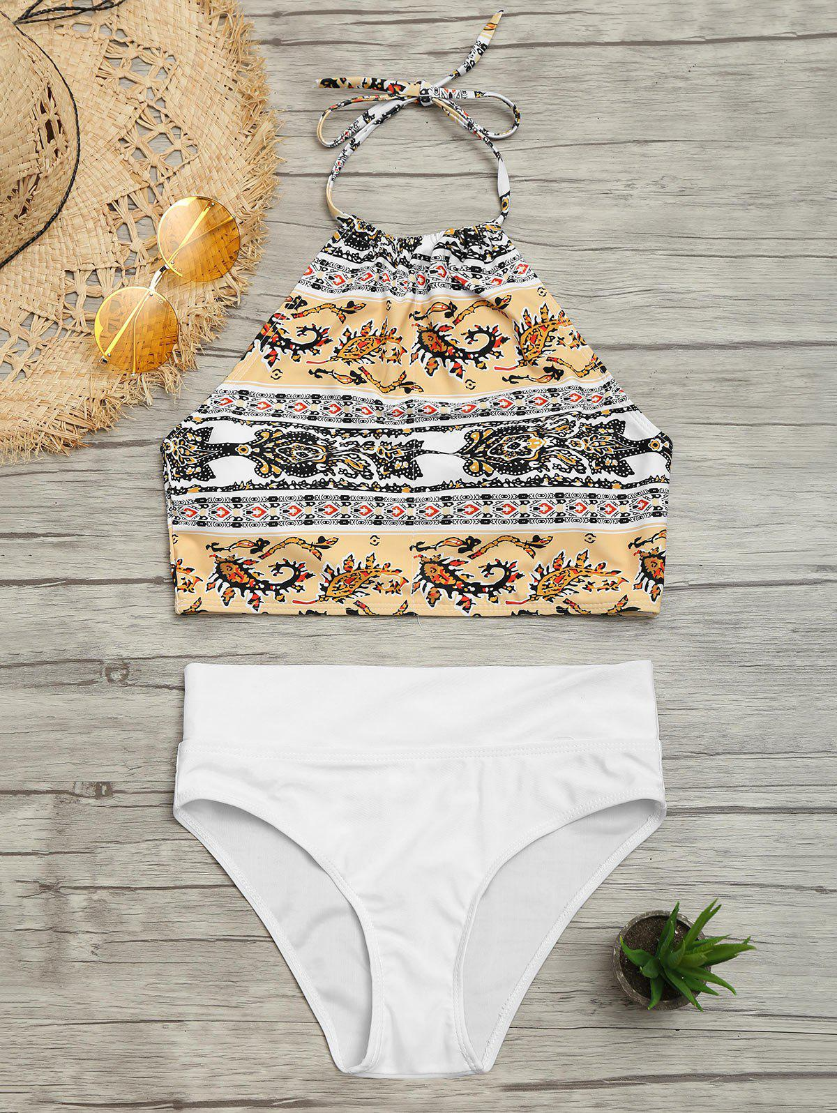 Tribal Printed Halter Bikini Set - COLORMIX M