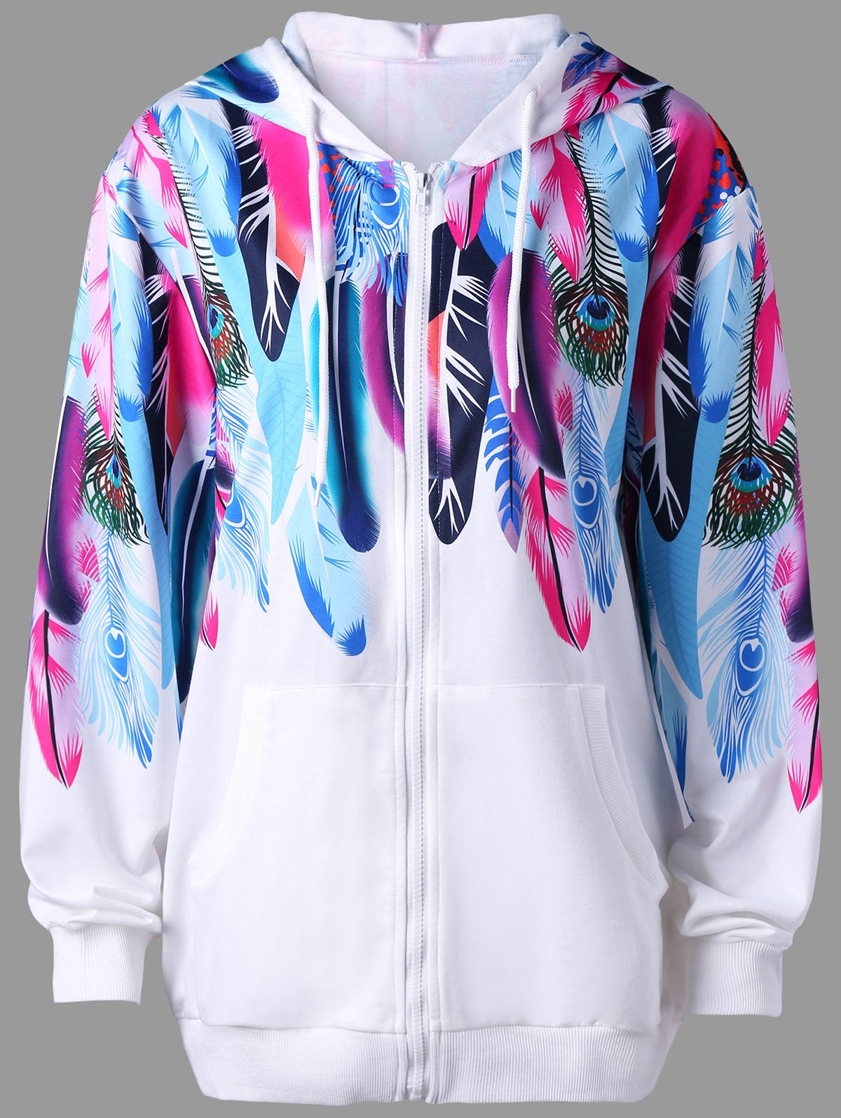 Feather Print Zip Up Hoodie - WHITE 2XL