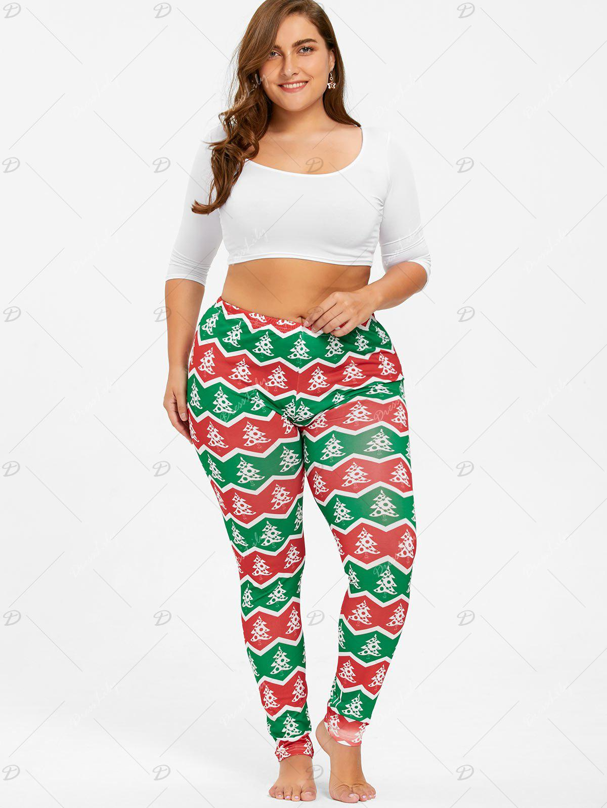 Plus Size Christmas Zigzag Tree Pants - RED/GREEN XL