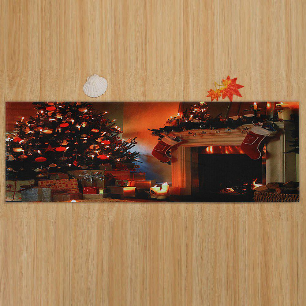 Christmas Tree Fireplace Pattern Indoor Outdoor Area Rug - COLORMIX W16 INCH * L47 INCH