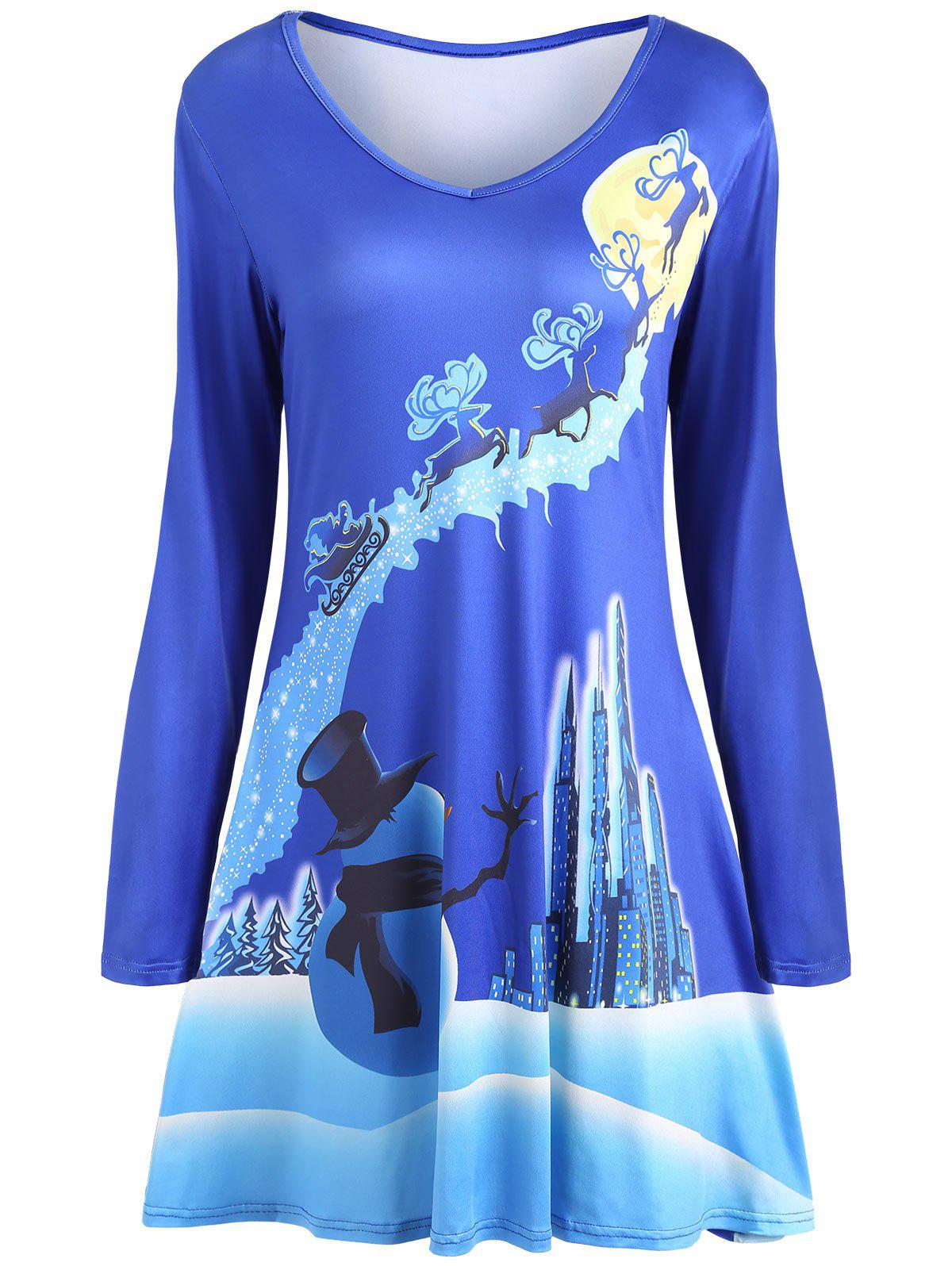 Christmas Long Sleeve Print Mini Swing Dress - BLUE S