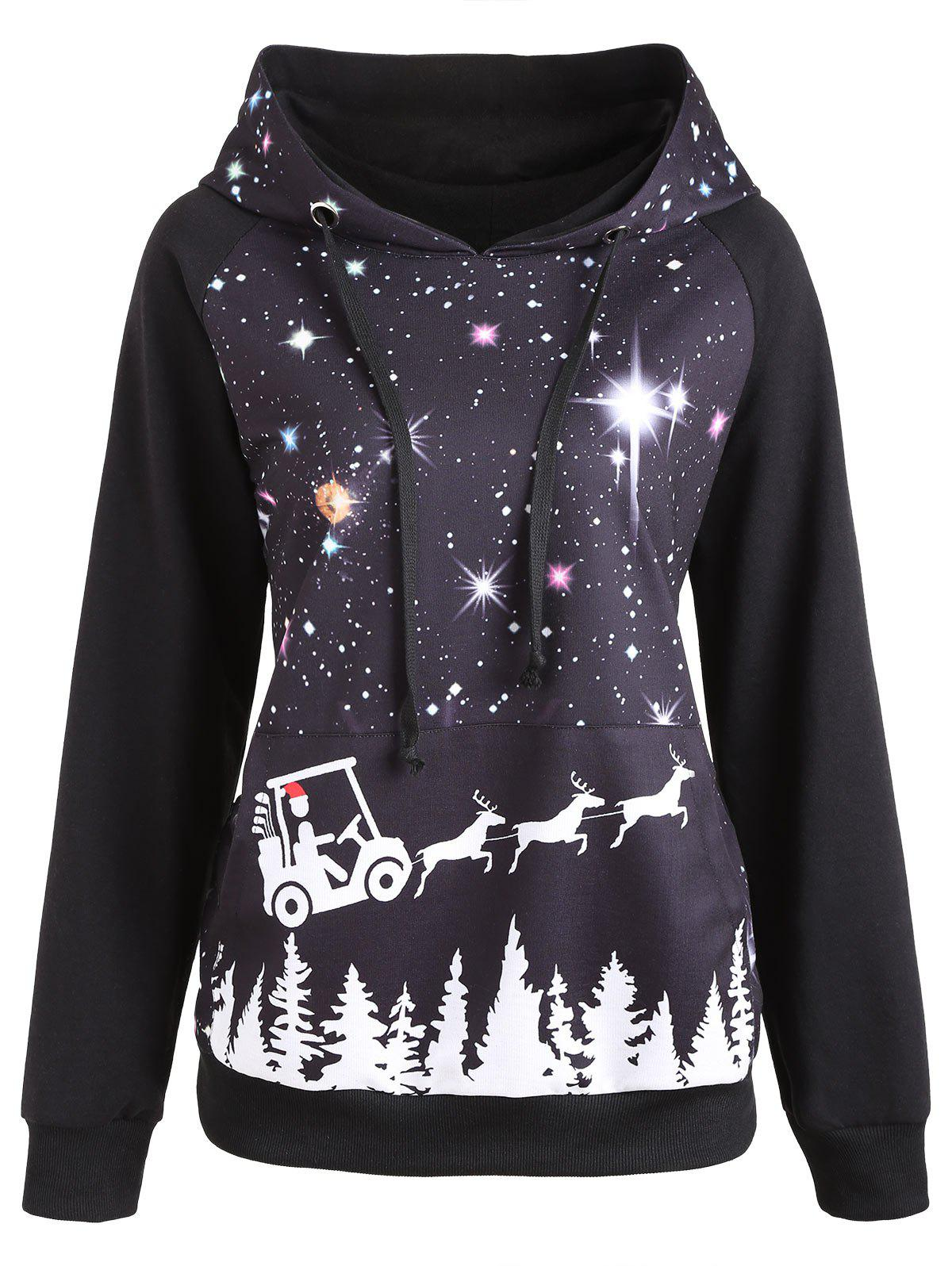 Raglan Sleeve Starry Sky Print Christmas Hoodie - BLACK XL