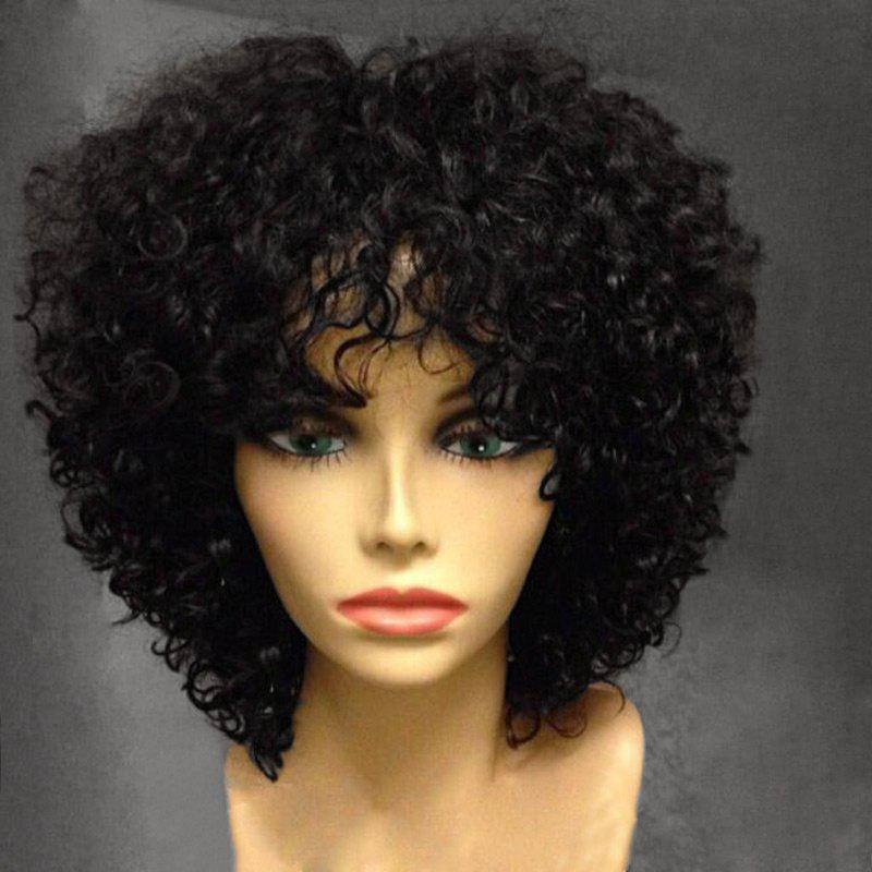 Short Side Fringe Fluffy Afro Curly Synthetic Wig - FULL BLACK