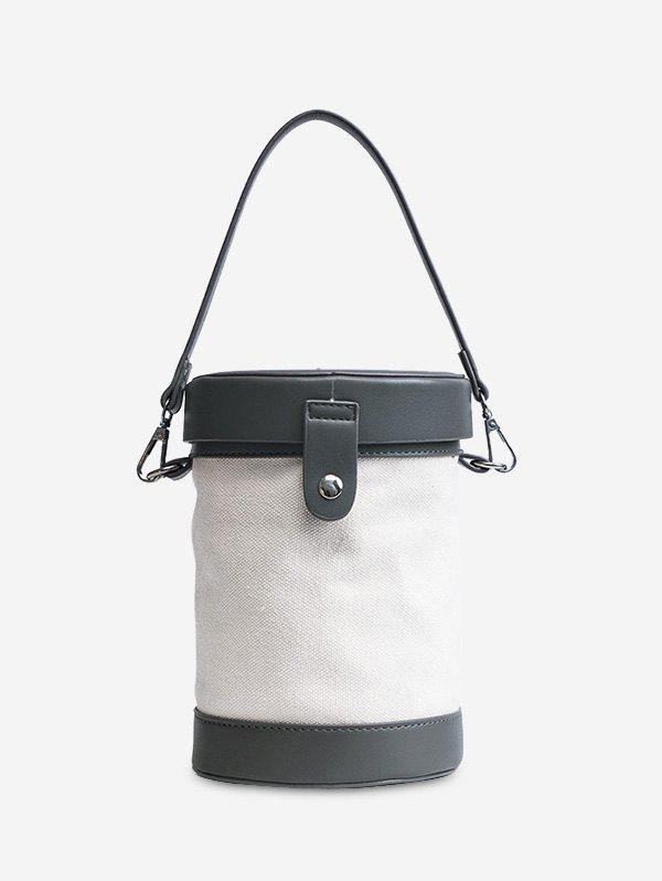 Cylinder Shaped Contrasting Color Crossbody Bag - GRAY