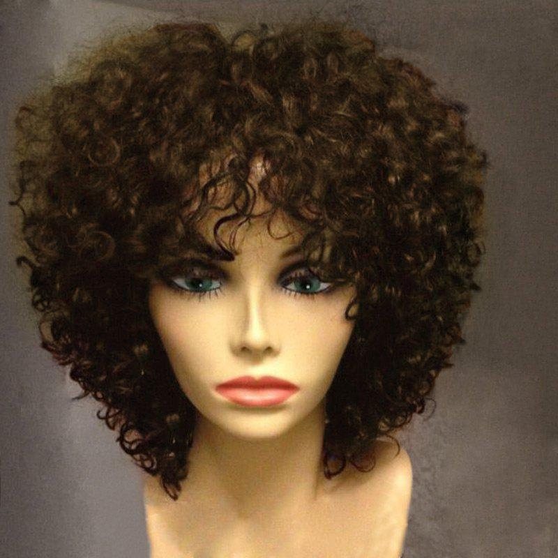 Short Side Fringe Fluffy Afro Curly Synthetic Wig - BROWN