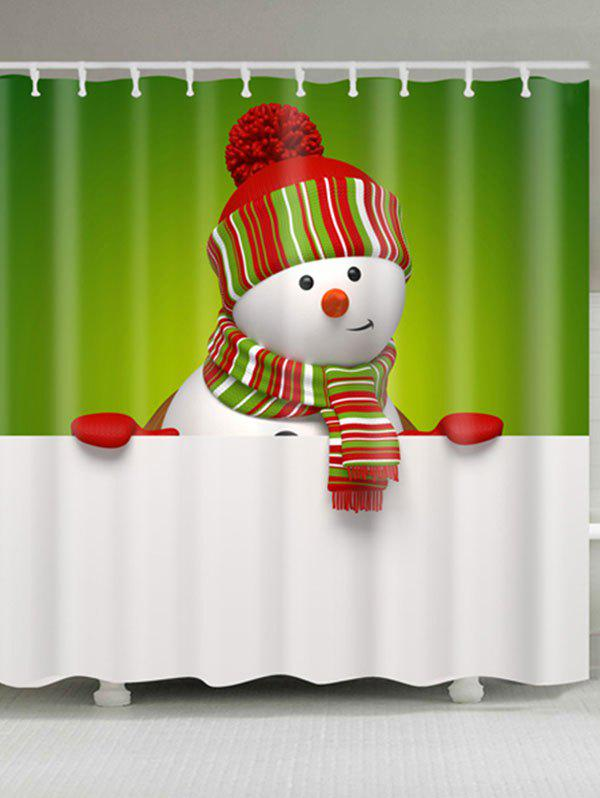 Polyester Waterproof Snowman Christmas Shower Curtain - WHITE/GREEN W59 INCH * L71 INCH