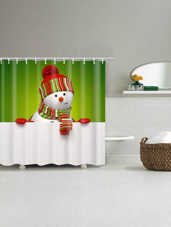 Polyester Waterproof Snowman Christmas Shower Curtain - WHITE/GREEN W71 INCH * L79 INCH