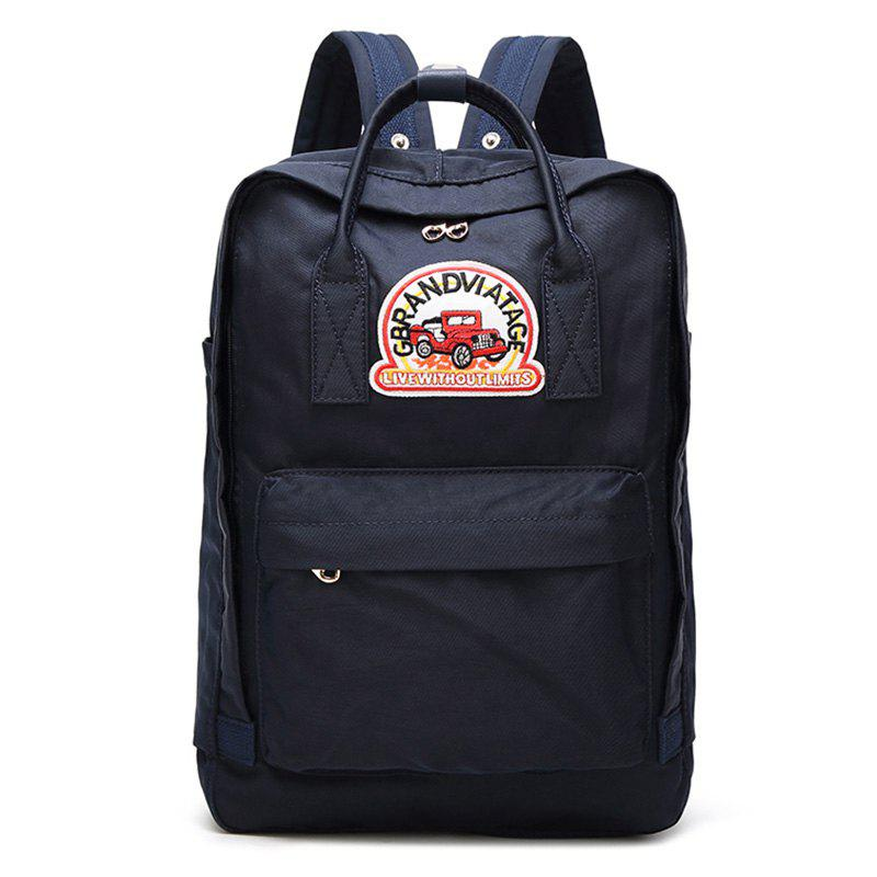 Car Letter Embroidery Backpack - BLUE VERTICAL