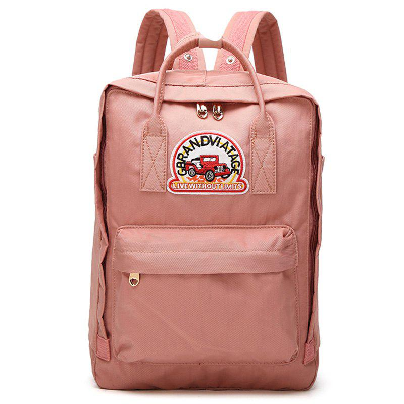 Car Letter Embroidery Backpack - PINK VERTICAL