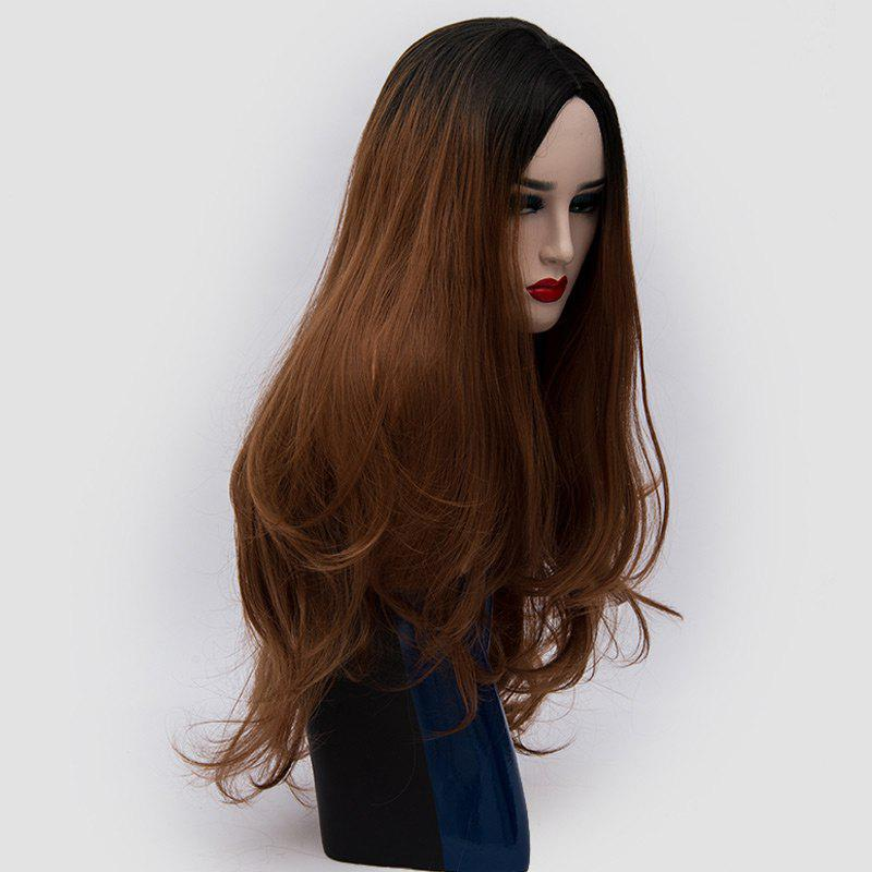 Center Parting Ombre Long Slightly Curly Synthetic Party Wig - BROWN
